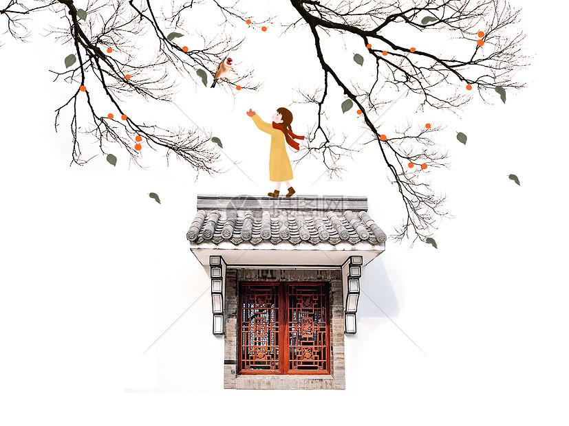 树枝小鸟和少女图片