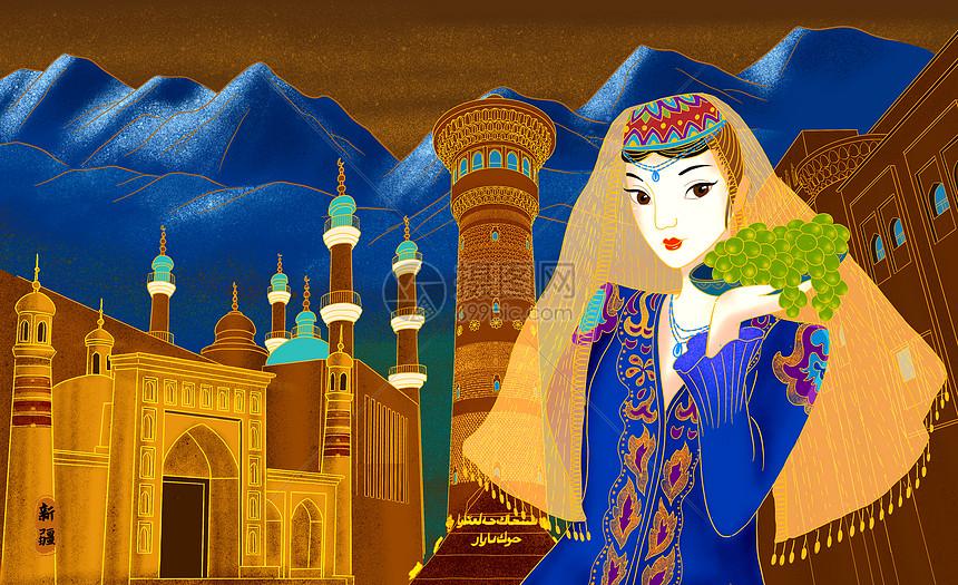 烫金城市美丽中国新疆图片