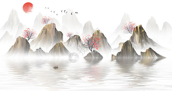 中国风山水水墨插画图片