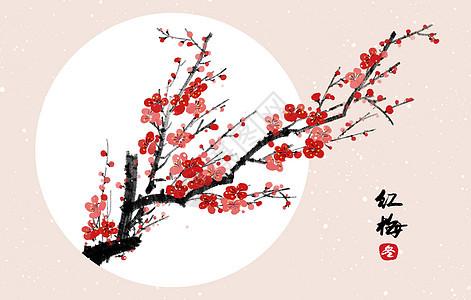 中国风冬天水墨梅花插画图片