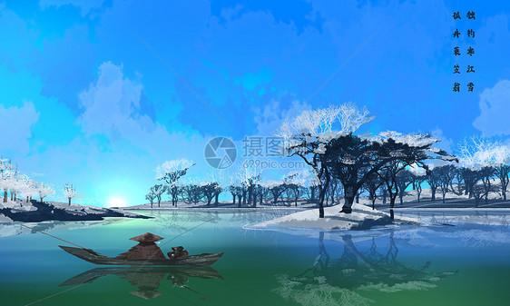 冬季湖泊垂钓景色图片