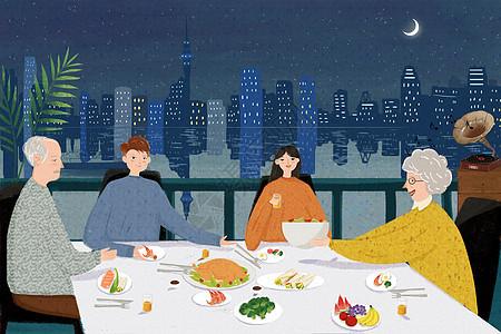 感恩节一家人聚餐图片
