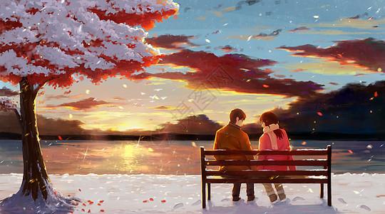 冬日晚霞下的情侣图片