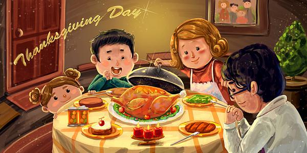 感恩节全家团聚吃火鸡暖色插画图片