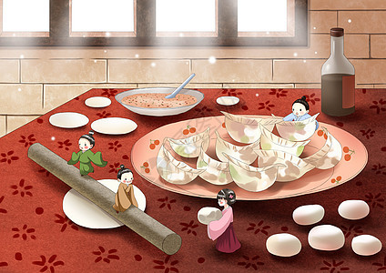立冬吃饺子小人插画图片