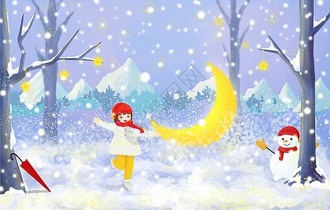创意冬天雪景插画图片