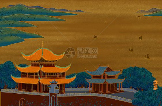 烫金城市美丽中国湖南岳阳楼图片