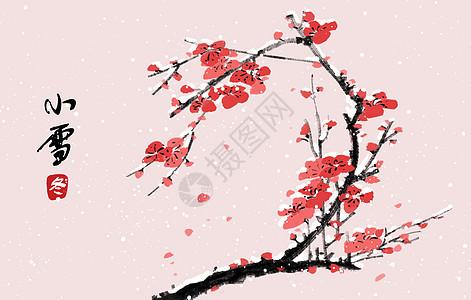 中国风冬天小雪梅花插画图片