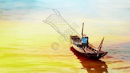 船上撒网的渔民图片