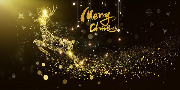 金色闪耀圣诞麋鹿图片