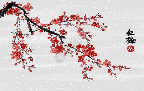 中国风冬天红梅插画图片