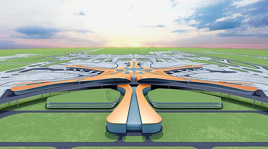 大兴机场俯视图图片