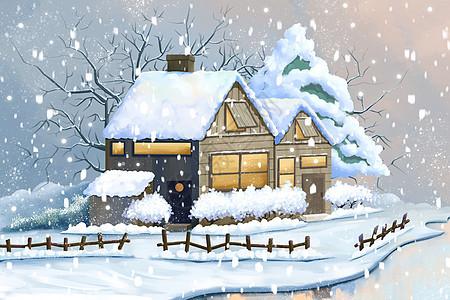 冬季雪中的房子图片
