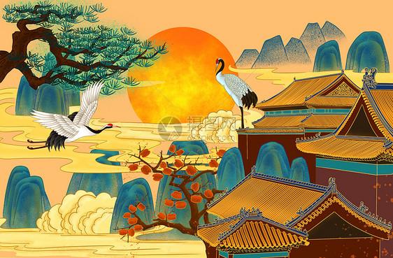 节日仙境仙鹤背景图片