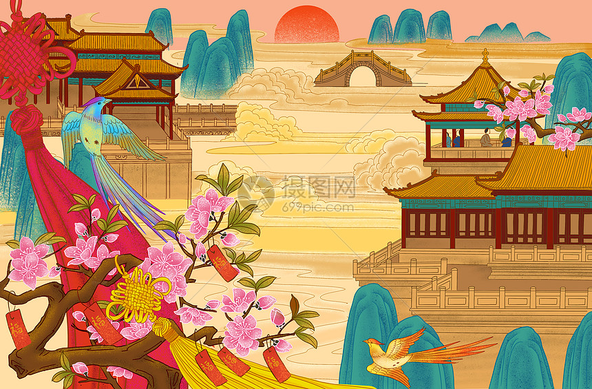 春节仙境背景图片