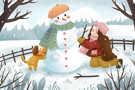 冬季雪地堆雪人女孩与狗插画图片