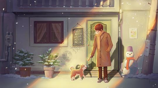 冬日暖阳下的少年与小狗图片