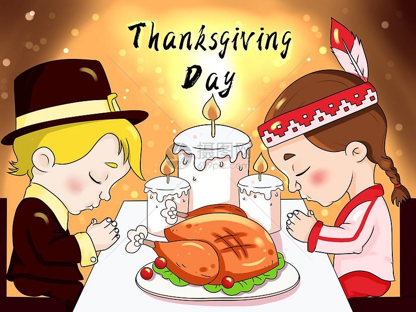 感恩节男孩卡通插画图片