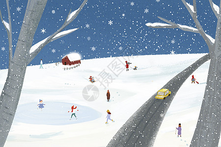 冬季户外插画图片