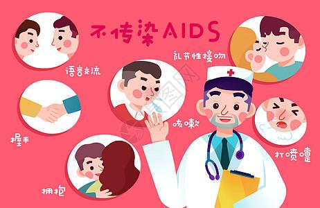 艾滋病普及防范插画图片