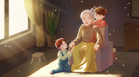 感恩节孙子孙女给奶奶按摩图片