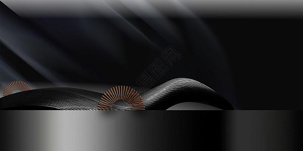 大气黑色中式背景图片