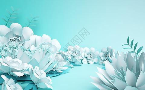 C4D剪纸花朵背景图片