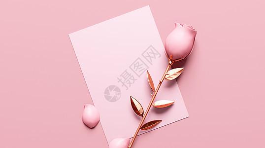 玫瑰和信纸图片
