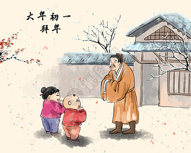 春节大年初一拜年图片