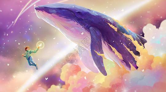 与鲸鱼一起翱翔的少年图片