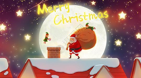 屋顶上的圣诞老人图片