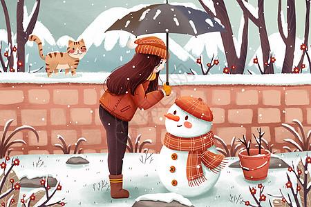 冬季雪地雪人与女孩插画图片