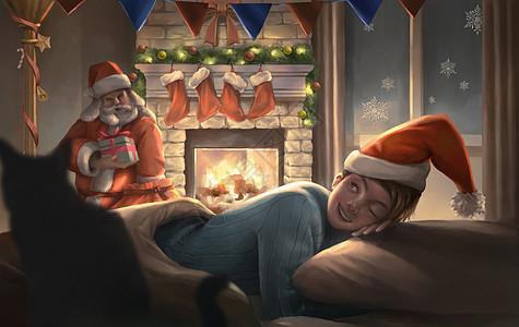 圣诞老人偷偷送礼物图片