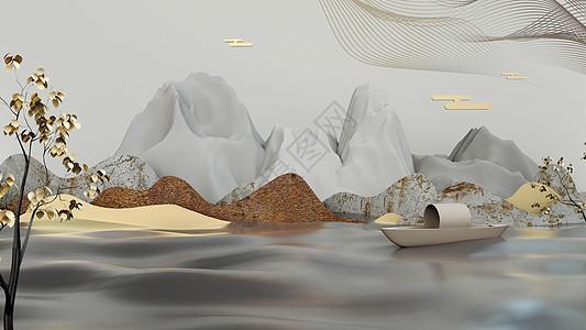 3D立体山水画场景图片