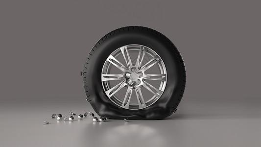 被图钉扎破的轮胎图片