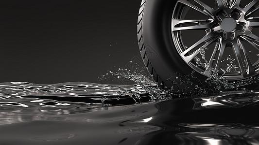 在水面滚动的轮胎图片