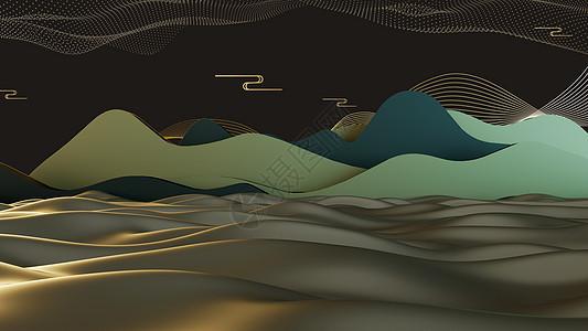 中国风立体山水背景墙图片
