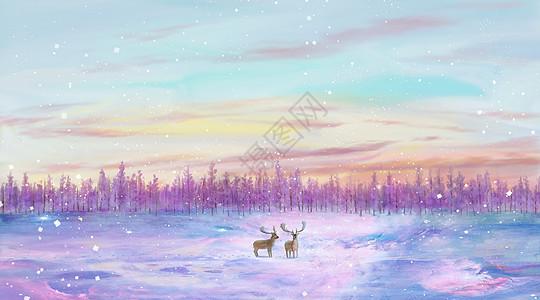 梦幻紫色雪原麋鹿图片