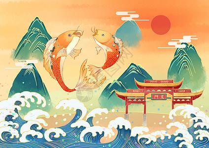 春节鱼跃龙门图片
