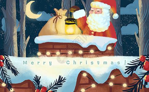圣诞老人爬烟囱图片