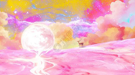 唯美梦幻麋鹿与月亮picture