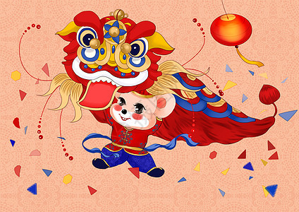 中国风2020鼠年插画小老鼠舞狮图片