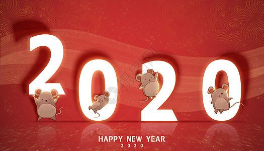 2020鼠年小鼠红色纹理图片