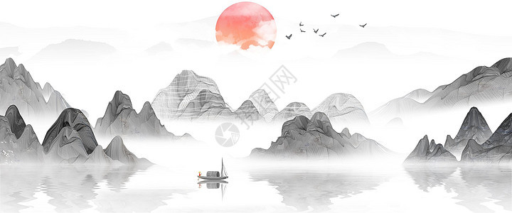新中式山水风景画图片