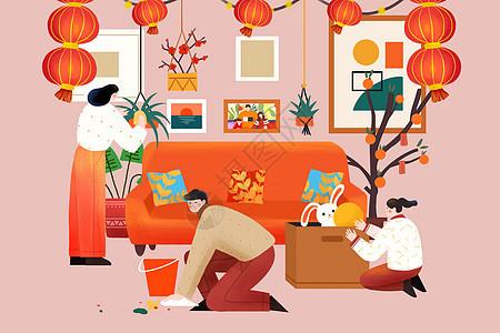 春节小年大扫除插画图片