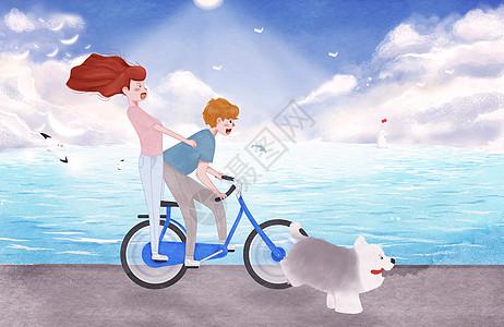 情侣海边骑自行车插画图片