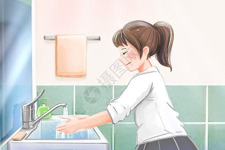 女孩在认真洗手预防病毒细菌图片