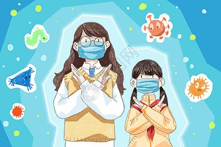 戴口罩防御病毒图片