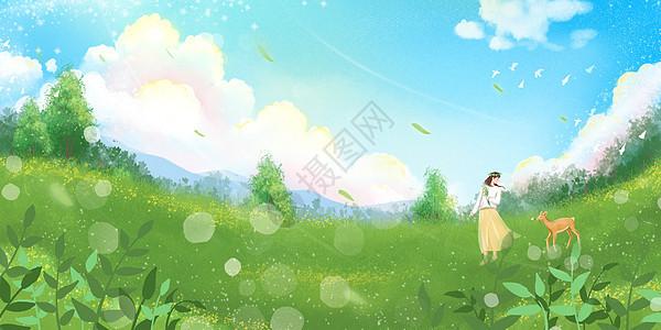 春天草地上女孩与鹿玩耍图片