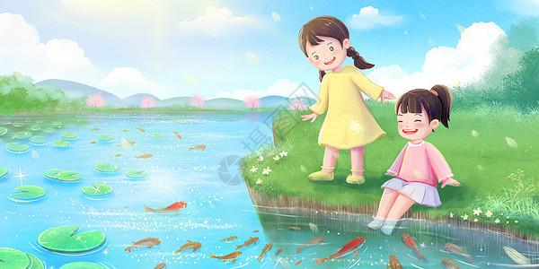 春天女孩在河边赏鱼图片